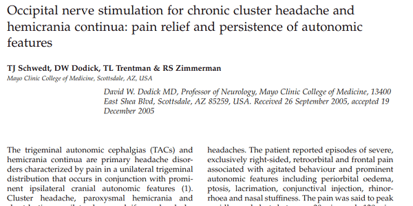 Occipital nerve stimulation for chronic cluster headache and